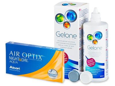 Air Optix Night and Day Aqua (6 lenti) + soluzione Gelone 360 ml - Package deal
