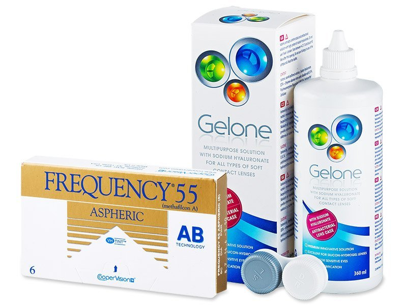 Frequency 55 Aspheric (6 lenti) + soluzione Gelone 360 ml - Package deal
