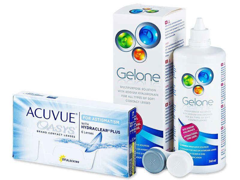 Acuvue Oasys for Astigmatism (6 lenti) + soluzione Gelone 360 ml - Package deal