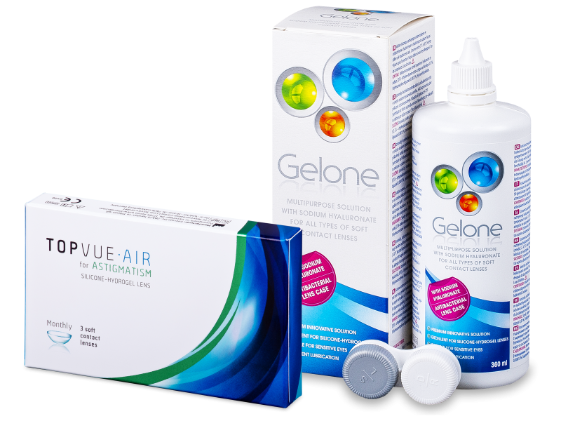 TopVue Air for Astigmatism (3 lenti) + soluzione Gelone 360 ml - Package deal