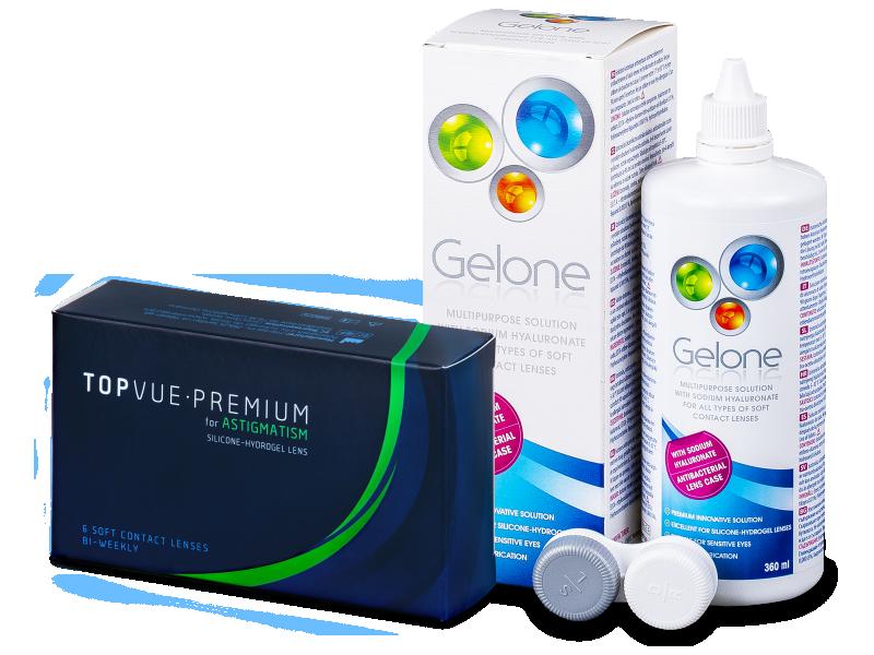 TopVue Premium for Astigmatism (6lenti) + soluzione Gelone 360 ml - Package deal