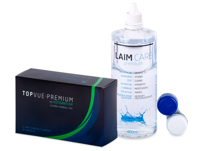 TopVue Premium for Astigmatism (6lenti) + soluzione Laim-Care 400 ml - Package deal