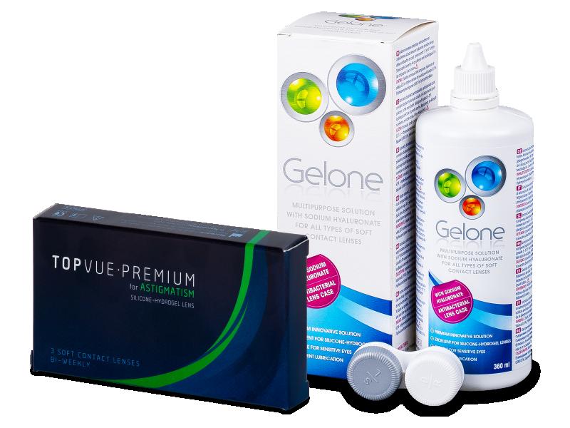 TopVue Premium for Astigmatism (3lenti) + soluzione Gelone 360 ml - Package deal